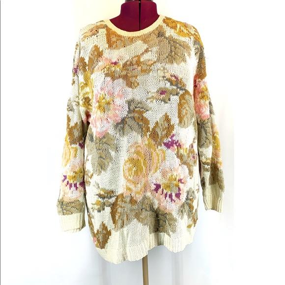 Ralsey Vintage Large Rose print Long Knit Sweater